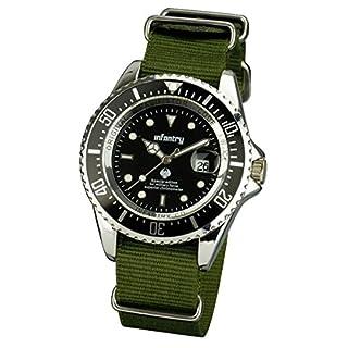 INFANTRY® Mens Analogue Quartz Wrist Watch Date Display Military Green NATO Strap Rotating Bezel (B00A65JOBK) | Amazon price tracker / tracking, Amazon price history charts, Amazon price watches, Amazon price drop alerts