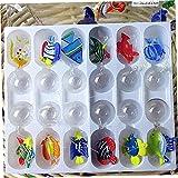 Ruluti Vidrio Flotante Figurina Aquario Mano Que Sopla Pescado Vidrio con 12 Unids Ornamentos del Tanque Peces En Miniatura Colgante