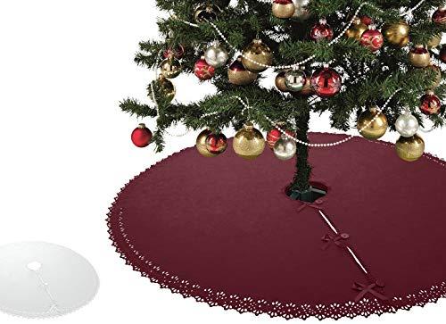 XXL Weihnachtsbaumdecke OekoTex 120 cm Fleece mit Knöpfen und Satinbänder rund rot weinrot Christbaum Christbaumdecke Tannenbaumdecke