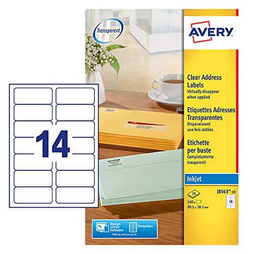 Avery J8563-10 Etiketten (nur für Tintenstrahldrucker) transparent