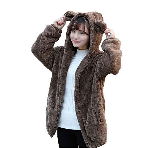 Reefa Frauen Mädchen Winter Warme Nette Cartoon Bär Ohr Hoodie Baggy Mantel Jacke Oberbekleidung