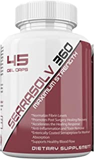 Serrasolv 360 (180,000 SPU's Per Cap): Maximum Strength Serrapeptase Enzyme High-Potency Supplement Enteric Coated 180,000 SUs per Capsule, (45 Capsules) Reduces Inflammation, Scar Tissue, Pain, Sin