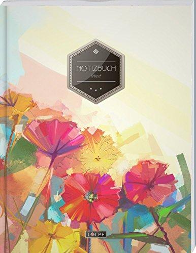 """TULPE Liniertes Notizbuch A4 """"C150 Bunte Blumen"""" (140+ Seiten, Vintage Softcover, Doppelrand, Seitenzahlen, Register - Dickes Notizheft, Deutschheft, Schreibheft, Schulheft, Tagebuch, Lineatur 27)"""