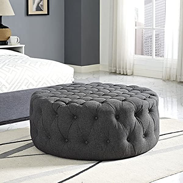 Modway Amour Fabric Upholstered Button Tufted Round Ottoman In Gray