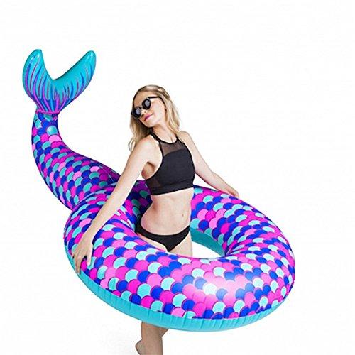 Flotteur gonflable de piscine de queue de sirène, 180 * 110cm