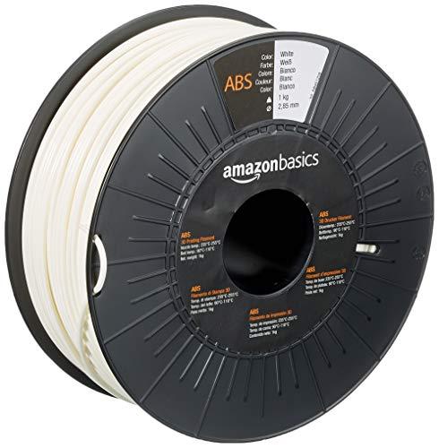 Amazon Basics - Filamento para impresora 3D, plástico ABS, 2.85 mm, cinta de 1 kg, blanco