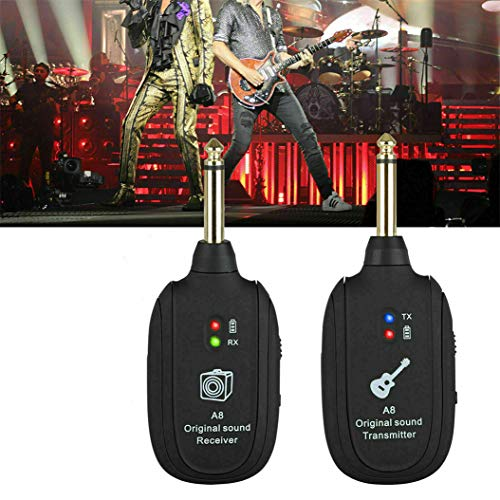 Wireless Guitar System, 20Hz-20kHz UHF Wireless Guitar Rechargeable Transmitter Receive for Electric Guitar Bass Violin