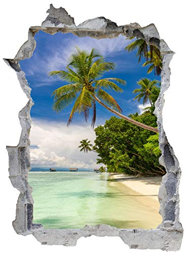 Strand Palmen Meer Urlaub Wandtattoo Wandsticker Wandaufkleber E0669 Größe 46 cm x 62 cm