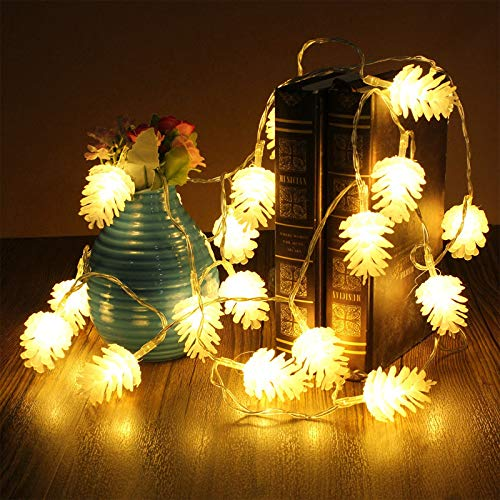 LLGLTOMO 20 LED 9.8 FT Christmas Tree String Lights, Pine Cone Decor for...