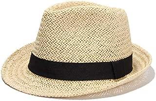 CHENDX Hat Men and Women Fashion Simple Grass Hat Breathable Outdoor Leisure Hat Parent-Child Summer Jazz Hat (Color : Beige, Size : S)