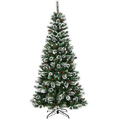 COSTWAY Albero di Natale Artificiale Innevato, con Bacche Rosse, Base di Metallo, Foglie in PVC, Design Realistico (240cm)