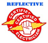 Pair | Reflective Certified Electrician Hard Hat Decal | Helmet Sticker | Lunch Box Label | Tool Box Decal | Color: Red and Yellow