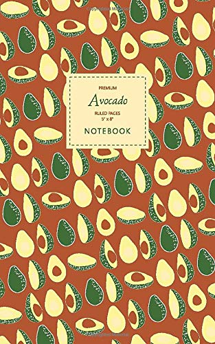 Price comparison product image Avocado Notebook - Ruled Pages - 5x8 - Premium: (Autumn Edition) Fun notebook 96 ruled / lined pages (5x8 inches / 12.7x20.3cm / Junior Legal Pad / Nearly A5)