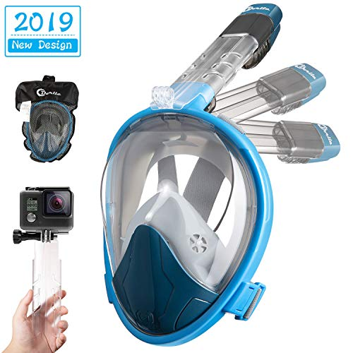 Dorlle Schnorchelmaske Vollmaske,Faltbare Tauchmaske,Anti-Fog Anti-Leak müheloses Atmen Vollgesichtsmaske,mit 180 Grad Blickfeld und Kamerahaltung für Kinder und Erwachsene(Blau Blau,L/XL)