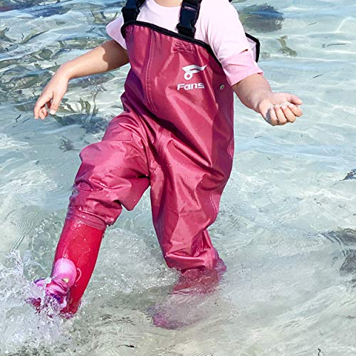 8 Fans Kid's Chest Waders,Waterproof Bootfoot Lightweight Hip Waders,2-ply Nylon PVC Fishing Hunting Kayaking Children's Waders with Boots for Boys,Girls(Pink 3#)