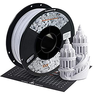 OVERTURE Rock PLA Filament 1.75mm with Build Surface 200mm × 200mm, Marble PLA Roll 1kg Spool (2.2lbs), Dimensional Accuracy +/- 0.05 mm, Fit Most FDM Printer, Rock White