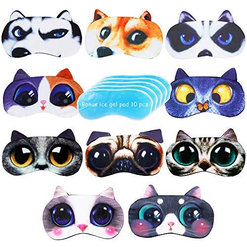 PROLOSO 10 Pcs Sleeping Masks for Kids Eye Ice Mask Cat Dog Animal Blindfold Eye Cover Eyeshade for Travel Nap Shift Work Night Sleep