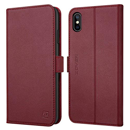ZOVER Compatible with iPhone Xs Max Leather Wallet Case with Auto Sleep/Wake Genuine Leather Kickstand Feature Card Slots Magnetic Clasps Gift Box Wine Red