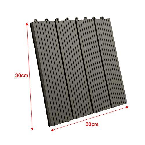 WOLTU GTF001gr WPC Terrassenfliesen Terrassendielen Fliese in Holzoptik Bodenbelag mit klicksystem Grau (11 Stück / 1 m²) - 6