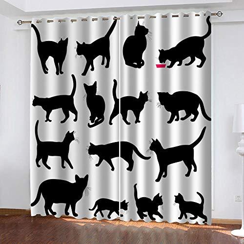 MXYHDZ Cortinas Opacas de Salon - Estampado de Gatito Negro Impresión 3D, Dormitorio Aislantes Termicas con Ollaos - 200 x 160 cm para Oficina y salón, Dormitorio habitación de los niños, 2 Piezas