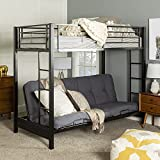 Walker Edison Elodie Urban Industrial Twin over Futon Metal Bunk Bed, Twin Size, Black