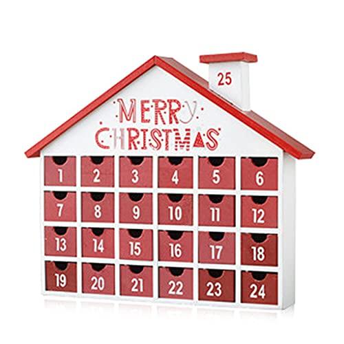 JULYCICIYA Calendario de Navidad Calendario de Adviento de Madera de Navidad Casa con cajones Decoración de Cuenta Regresiva con iluminación LED