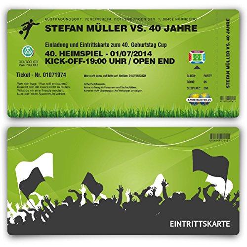 Einladungskarten (30 Stück) zum Geburtstag als Fussballticket Fussball Einladung