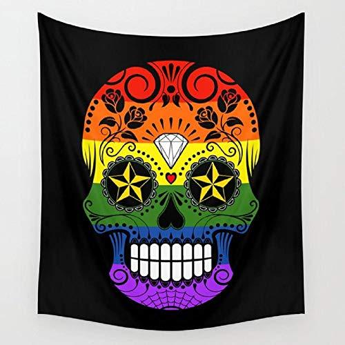 AdoDecor Pride Rainbow Flag Sugar Skull con Rosas Tapiz Tapices para Colgar en la Pared Skull Dorm Arte de la Pared Decoración para el hogar Estera de Yoga de Viaje 150x100cm