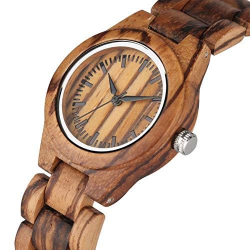 WRENDYY Holzuhren Retro Frauen Holz Uhr einzigartige kleine Zifferblatt Quarzuhr Damen Kleid Holz Armreif Uhr umweltfreundlich