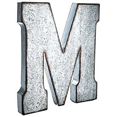 Huge 20  Metal Alphabet Wall Décor Letter  M  Rusted Edge Galvanized Metal