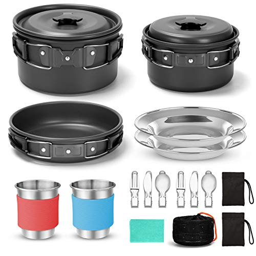 Odoland 15pcs Camping Cookware Mess Kit, Non-Stick Lightweight Pots Pan Set with Stainless Steel Cups Plates Forks Knives Spoons for Camping, Backpacking, Outdoor Cooking and Picnic