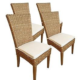 Casamia Cardine Lot de 4 chaises en rotin Blanc ou Marron Cappuccino avec Coussin d'assise, Taille Unique
