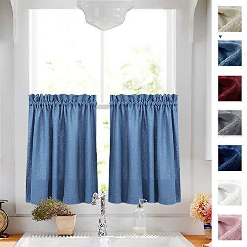 24 inches Kitchen Tier Curtains Windows Closet Casual Weave Bathroom Short Curtain Panels Semi Sheer Privacy Half Window Curtain Drapes Blue, 1 Pair