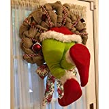 MiaoKa Funny Christmas Grinch Doll, How The Grinch Stole Christmas Burlap Wreath Garland, Super Cute and Lovely Great Gifts for Friends