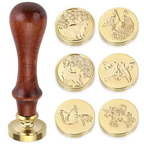 SUMTREE - Sello para sellos de cera y 1 mango de madera para tarjeta, carta, invitación, caja (tema de animales)