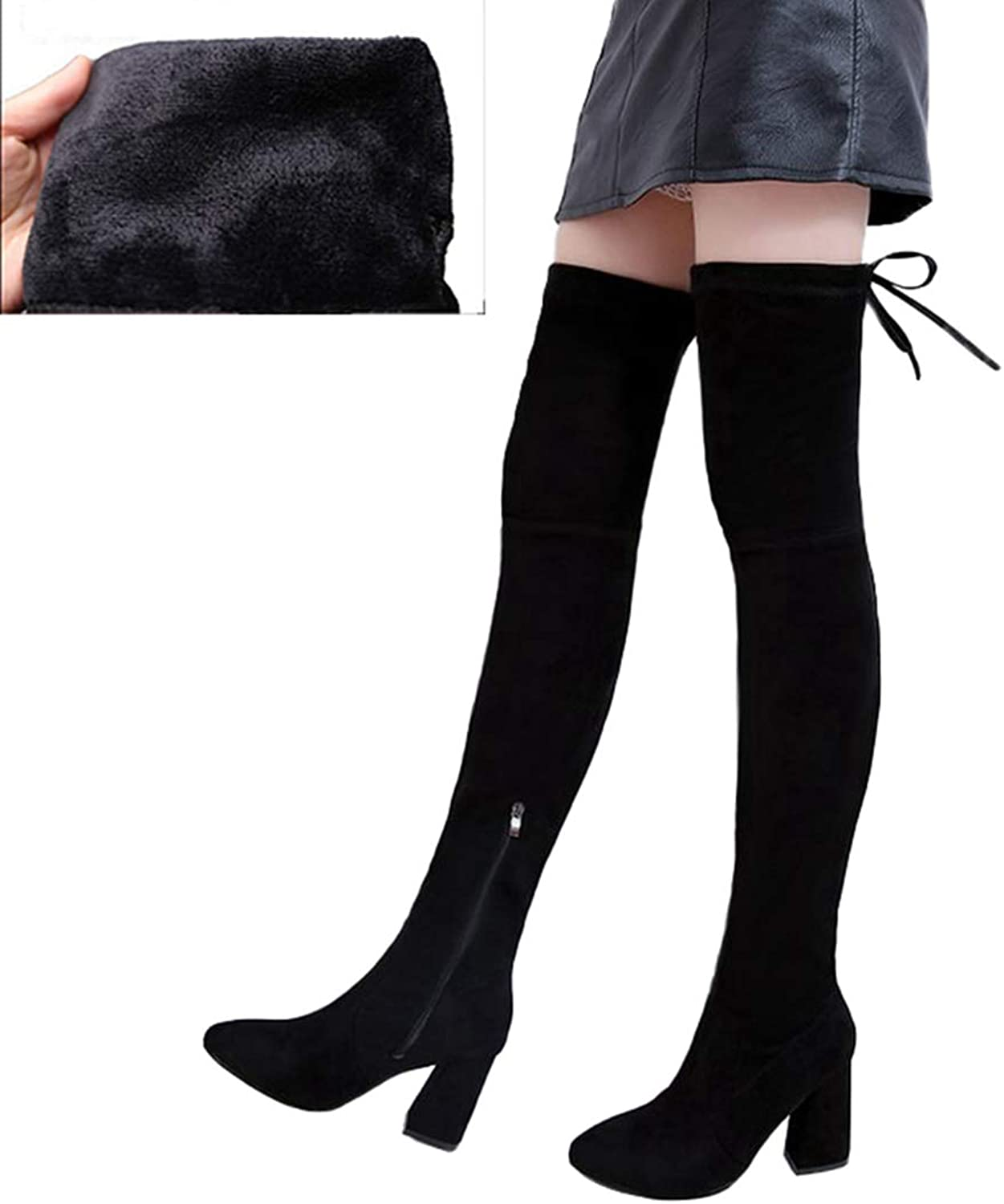 GEORPE Thick Heels Over The Knee Boots High Heels Pointed Toe Knee High Boots Suede Women shoes