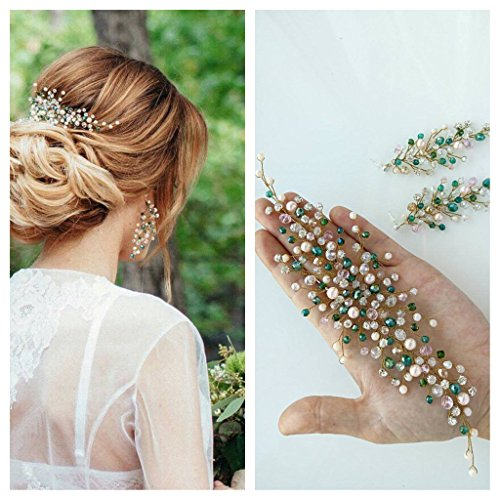 Kercisbeauty Handgefertigter Brautschmuck mit grünen, minzfarbenen und pinken Perlen, Haarband mit Ohrringen, Kopfschmuck für Hochzeit, Abschlussball