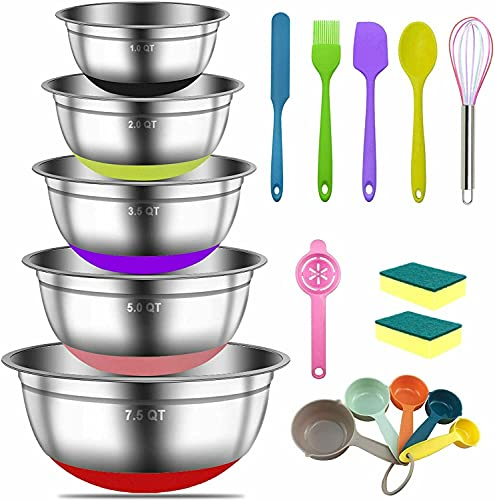18 Pieces Stainless Steel Mixing Bowls – Non Slip Colorful Silicone Bottom Large Metal Nesting Mixing Bowl Set, Great for Mixing, Baking