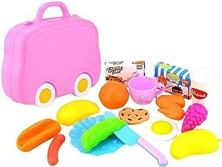 RANRANJJ 切削玩具セットキッズ知育玩具15ピースプラスチック子供キッズ切断誕生日パーティーキッチン食品ふりプレイ (色 : ピンク)