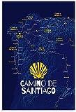 FEGASDF Camino De Santiago Mapa Retro Viaje Cartel Pintura Decorativa Lienzo Arte Pared decoración del hogar coleccionables Carteles Vintage Sin Marco 60 * 90cm