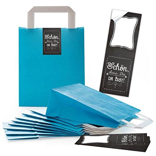 25 türkise Papiertüten Papier-Tragetaschen Geschenktüten Boden 18 x 8 x 22 cm kleine Papiertaschen + lange Aufkleber SCHÖN DASS DU DA BIST Tafel-Optik schwarz weiß Verpackung give-away
