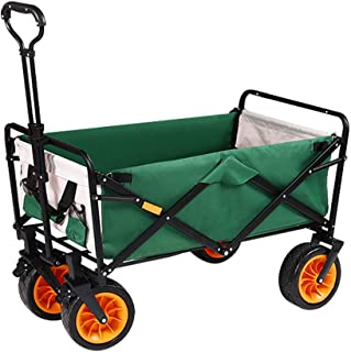 EDANQ Collapsible Grocery Cart,with Wheels Garden Cart,Outdoor Trolley Cart for Beach Fishing Camping,50X100x100cm,Load Be...