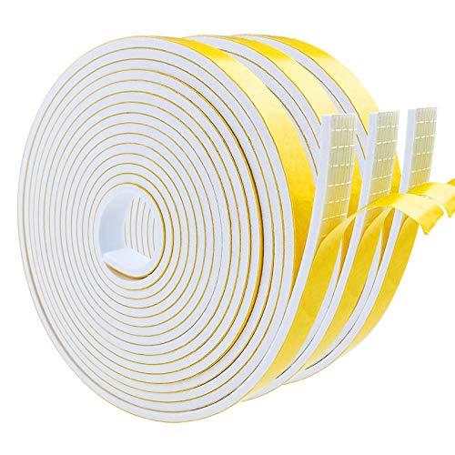 Dichtungsband Selbstklebend, Schaumstoff Dichtungsband Weiß, 12mm(B) x3mm(D), Moosgummi selbstklebend für Tür Fenster, wetterfest, Anti-Kollision, Schalldämmung,(4m Lang x 3 Rollen)