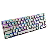 Portable RGB Gaming Office Magic Refiner MK14 60% Mechanical Keyboard USB 68 Keys Backlit Anti-ghosting Keyboard for PC Laptop(Blue Red Brown Switch) (White(Blue Switch))