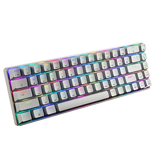 Portable RGB Magic Refiner MK14 Mechanical Gaming Keyboard for Office RGB LED Rainbow Backlit Type C USB Wired 60% Mechanical Keyboard for Mac Windows(White(Red Switch))