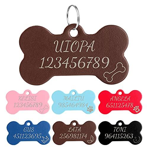 Uiopa Chapa Perro Grabada, Hueso Placa Perro Grabada de Cuero Identificador Perro/Gato, Etiquetas de Identificación de Mascotas para Collar Gato Perros Mascota Personalizado Grabada (Café)
