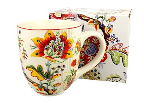 Duo Taza grande XXL oriental Flowers 2, 900 ml, porcelana, vaso para smoothie, regalo de oficina, taza para café, taza de té, capuchino, taza de café, taza de café, taza gigante XXXL