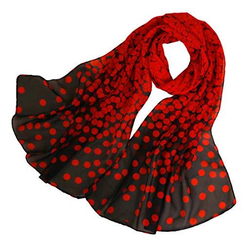KAVINGKALY Chiffon Blumen Schal Frauen Floral Schals Printe Chiffon Schal Polka Dot Schals langen Schal Wrap (rot + schwarz)