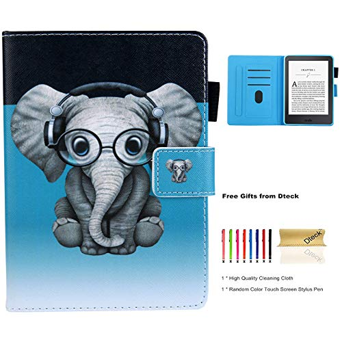 Dteck Case for Kindle Paperwhite, Ebook Reader Cover Case Cute Folio Slim Lightweight Wallet Leather Protector for Kindle Paperwhite (6 Inch, Include 10th Generation 2018 Release), Music Elephant