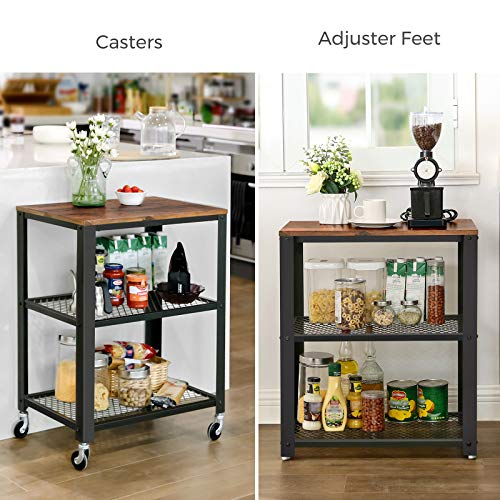VASAGLE Industrial Serving, 3-Tier Kitchen Utility Cart on Wheels with Storage for Living Room, Wood Look Accent Furniture with Metal Frame ULRC78X, Rustic Brown